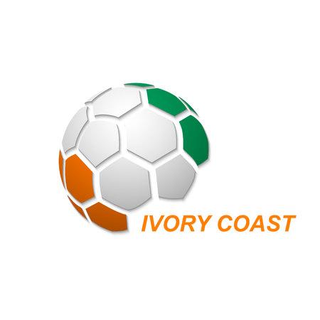 Fußball-Banner. Vektorillustration des abstrakten Fußballs mit den Farben der Nationalflagge der Elfenbeinküste
