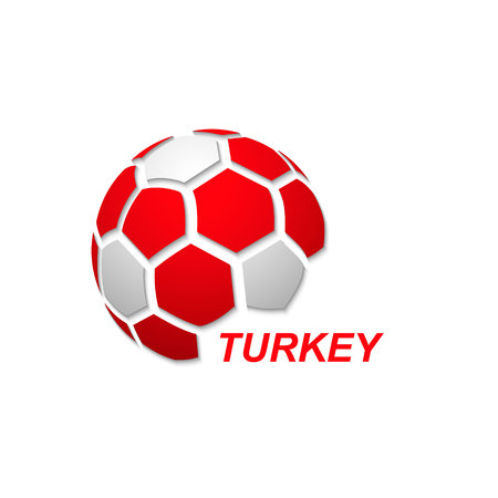 Football banner. Vector illustration of abstract soccer ball with Turkey national flag colors