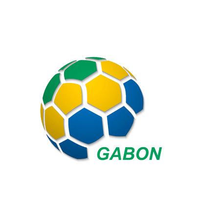 Football banner. Vector illustration of abstract soccer ball with Gabon national flag colors