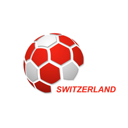 Football banner. Vector illustration of abstract soccer ball with Switzerland national flag colors