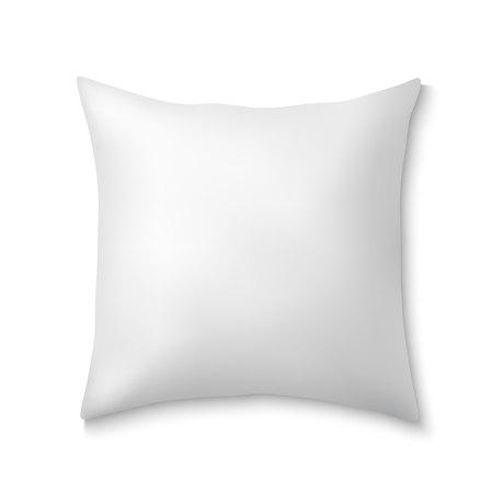 Almohadas cuadradas realistas blancas. Cojín mullido de plantilla