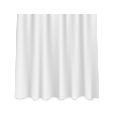 Rideau de soie suspendu blanc isolé