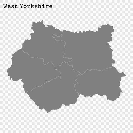 High Quality map of West Yorkshire is a county of England, with borders of the districts Illustration
