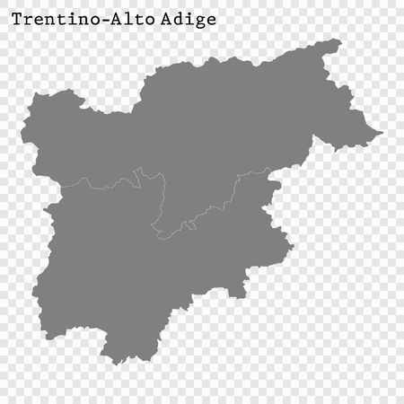 High Quality map of Trentino Alto Adige is a state of Italy, with borders of the districts