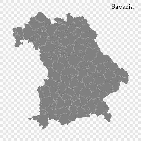 High Quality map of Bavaria is a state of Germany, with borders of the districts