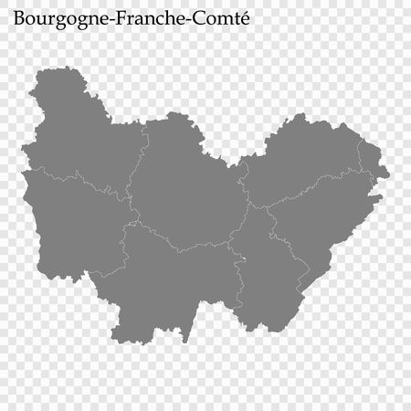High Quality map of Bourgogne-Franche-Comte is a region of France, with borders of the departments