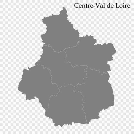 High Quality map of Centre-Val de Loire is a region of France, with borders of the departments Illustration