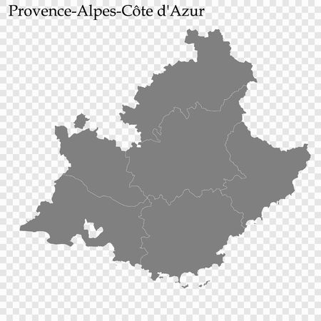 High Quality map of  is a region of France, with borders of the departments Illustration