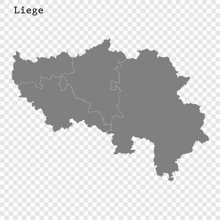 High Quality map of Liege is a province of Belgium, with borders of the regions