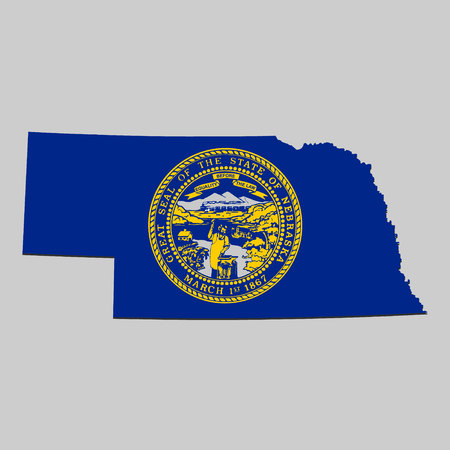 Map of Nebraska is a state USA with flag. Vector Illustration Vector Illustration