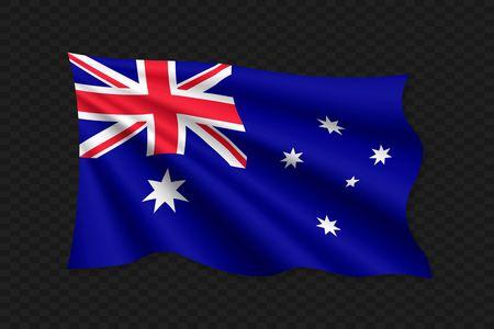 Drapeau ondulant 3D de l'Australie. Illustration vectorielle