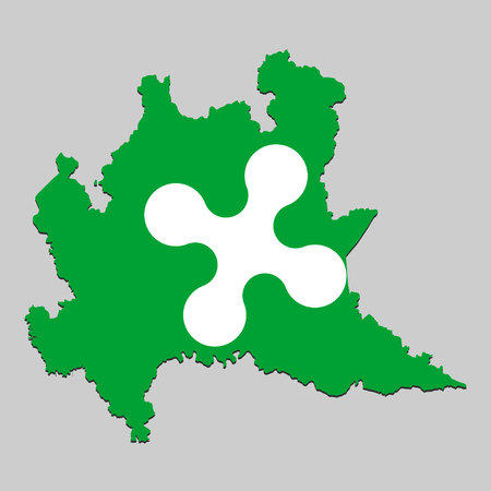 Map of Lombardy is a state Italy with flag. Vector Illustration Vettoriali