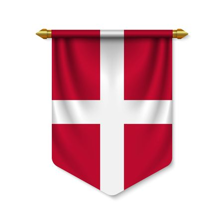 3d realistic pennant with flag of Denmark. Vector illustration  イラスト・ベクター素材