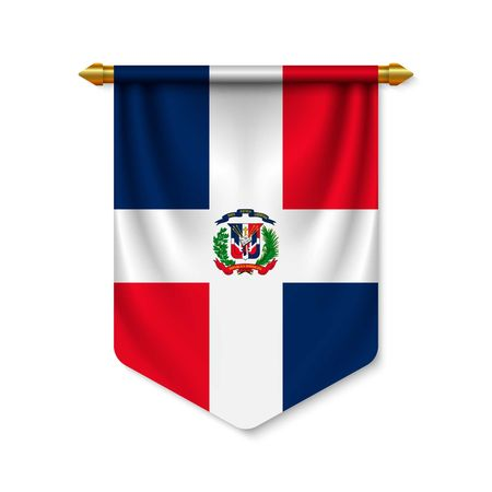 3d realistic pennant with flag of Dominican Republic. Vector illustration
