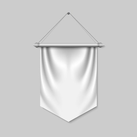 Empty 3D Pennant template. Blank flag. Realistic vector illustration Vettoriali