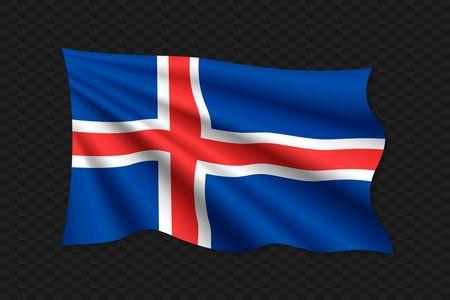 3D Waving Flag of Iceland. Vector illustration
