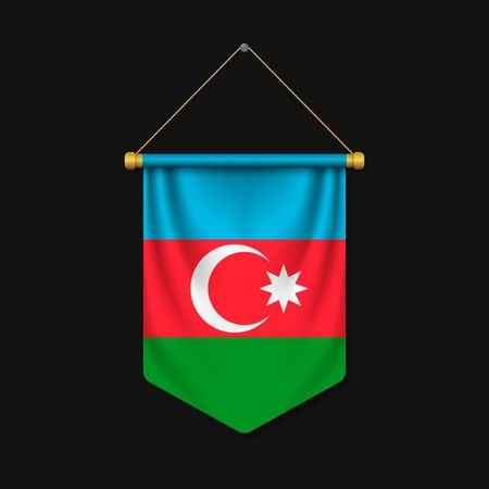 3d realistic pennant with flag of Azerbaijan