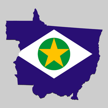 Map of Mato Grosso is a state Brazil with national flag. Vector Illustration