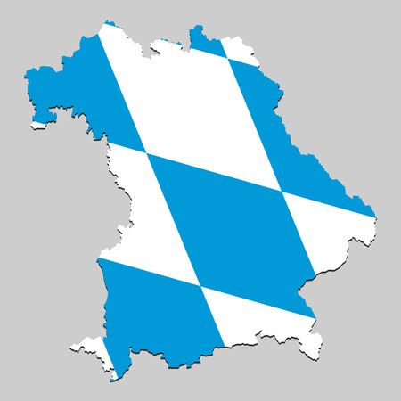 Map of Bavaria is a state Germany with flag. Vector Illustration