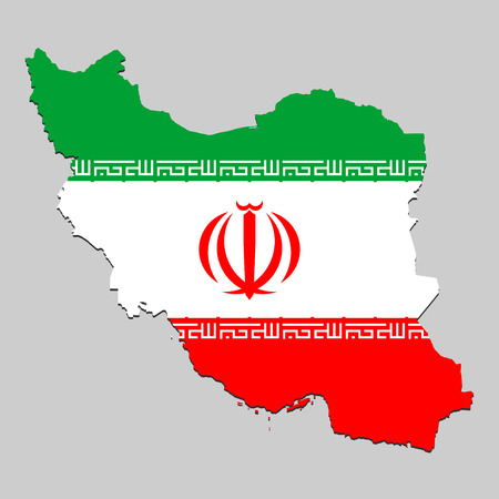 Map of Iran with national flag. Vector Illustration Vector Illustration