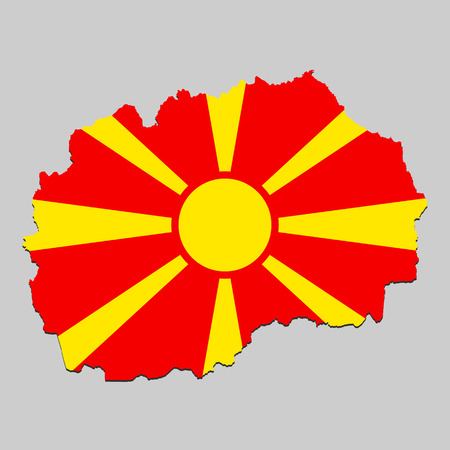 Map of North Macedonia with national flag. Vector Illustration.