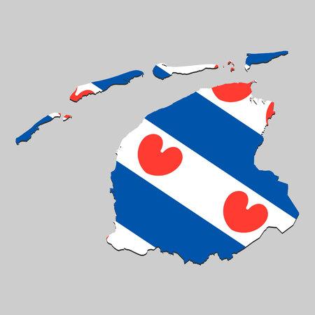Map of Friesland is a state Netherlands with flag. Vector Illustration Illustration