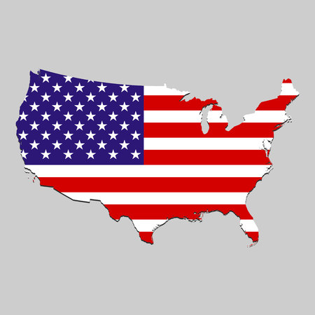 Map of United States with national flag. Vector Illustration