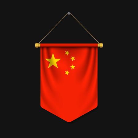 3d realistic pennant with flag of China