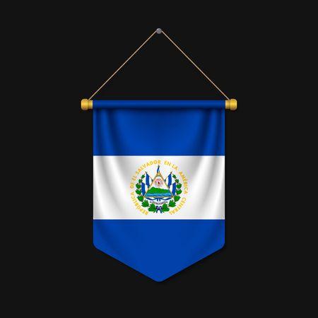 3d realistic pennant with flag of El Salvador