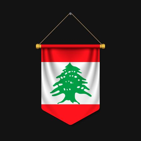 3d realistic pennant with flag of Lebanon Vector Illustration