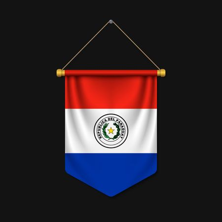 3d realistic pennant with flag of Paraguay