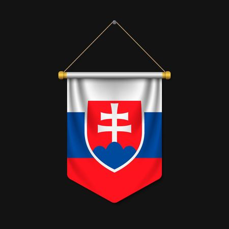 3d realistic pennant with flag of Slovakia Ilustracja