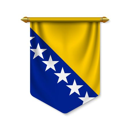 3d realistic pennant with flag of Bosnia. Vector illustration Vettoriali