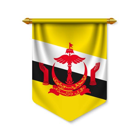 3d realistic pennant with flag of Brunei. Vector illustration  イラスト・ベクター素材