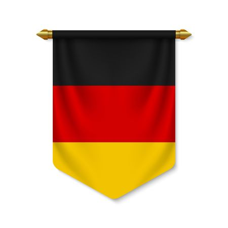 3d realistic pennant with flag of Germany. Vector illustration Vettoriali