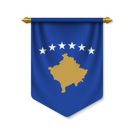 3d realistic pennant with flag of Kosovo. Vector illustration  イラスト・ベクター素材