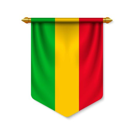 3d realistic pennant with flag of Mali. Vector illustration