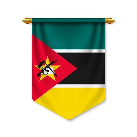 3d realistic pennant with flag of Mozambique. Vector illustration