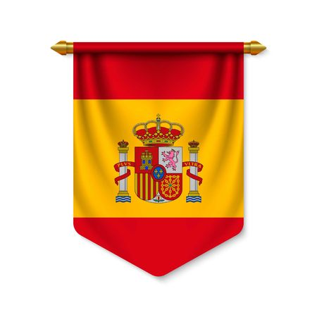 3d realistic pennant with flag of Spain. Vector illustration Vettoriali