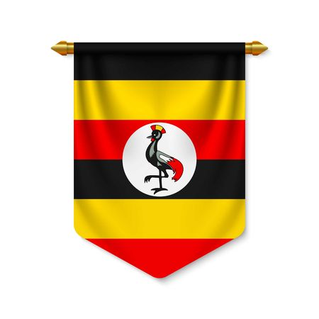 3d realistic pennant with flag of Uganda. Vector illustration