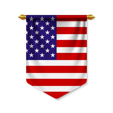 3d realistic pennant with flag of USA. Vector illustration Vettoriali