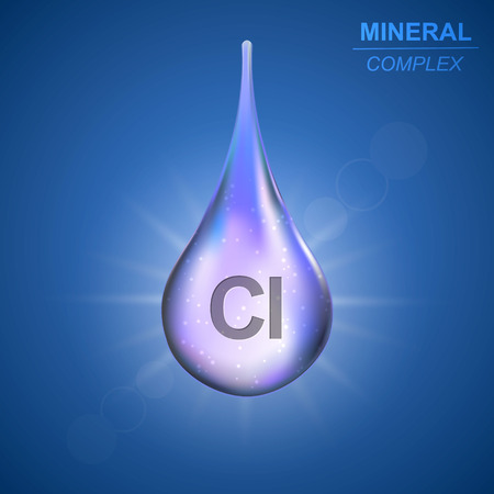 Chlorine Mineral shining blue drop icon .Mineral complex background Stock Illustratie