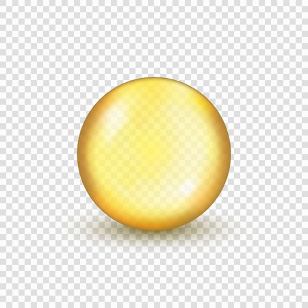 Oil gold pill capsule on transparent background