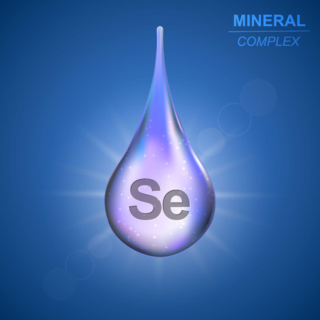 Selenium Mineral shining blue drop icon .Mineral complex background Illustration