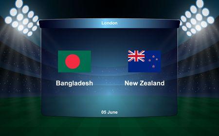 Bangladesh vs New Zealand cricket scoreboard broadcast graphic template