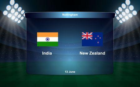 India vs New Zealand cricket scoreboard broadcast graphic template