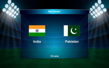 India vs Pakistan cricket scoreboard broadcast graphic template