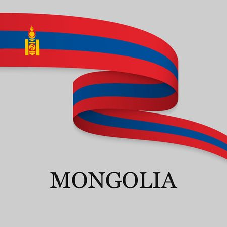 Waving ribbon or banner with flag of Mongolia. Template for independence day poster design