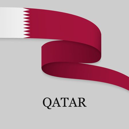 Waving ribbon or banner with flag of Qatar. Template for independence day poster design  イラスト・ベクター素材