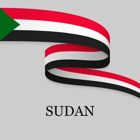 Waving ribbon or banner with flag of Sudan. Template for independence day poster design